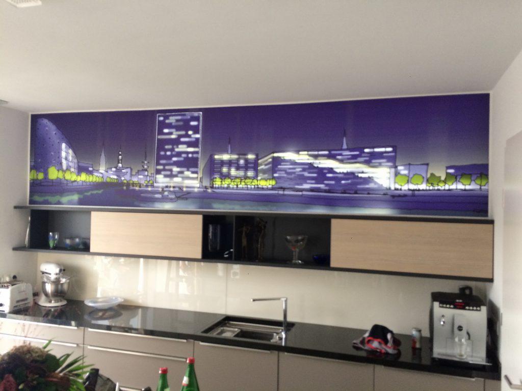 Küche Wand Skyline beleuchtet